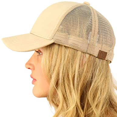 CC Everyday Mesh Trucker Faux Leather Plain Blank Baseball Cap Hat Solid  Beige at Amazon Men s Clothing store  4ea186d916f