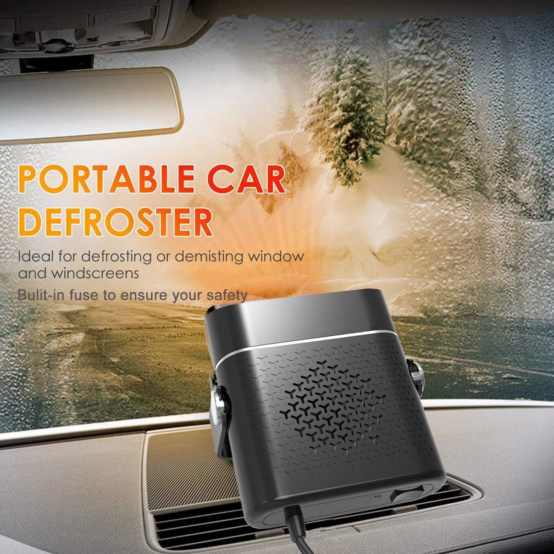 150W Portatile Termoventilatore Auto per Riscaldamento Raffreddamento Purificare lAria e Sbrinatore Parabrezza per Automobile Accendisigari Migliore Regalo per linverno Riscaldatore Auto 12V