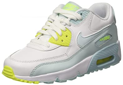 NIKE Youth Air Max 90 LTR Running Shoes-White Blue-5 d55658eca