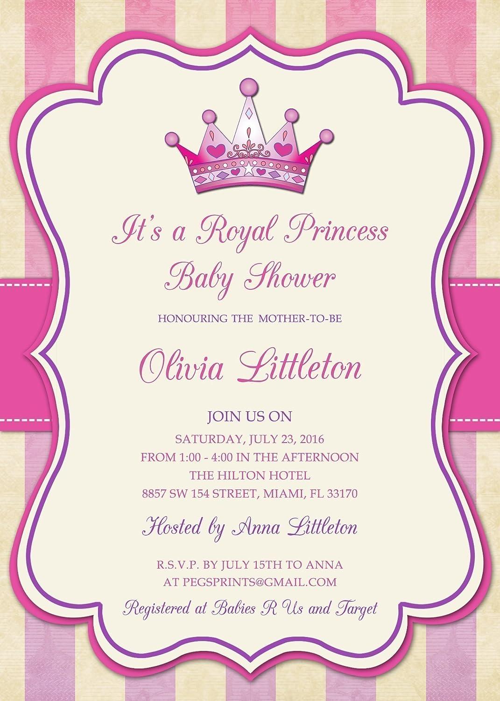 Amazon.com: Royal Princess Baby Shower Invitation - Princess Baby ...