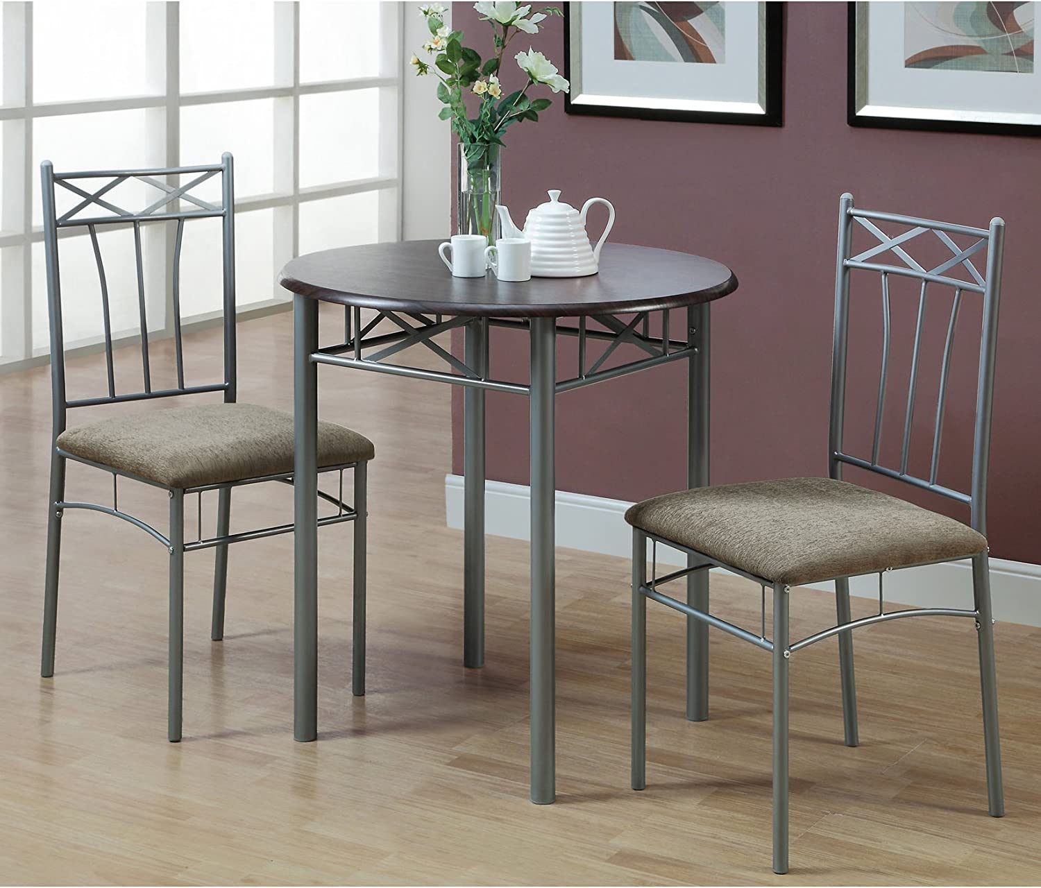 Monarch Specialties I 3075 Cappuccino Finish Wood And Silver Metal Bistro Dining Set 3 Piece Amazon Ca Home Kitchen