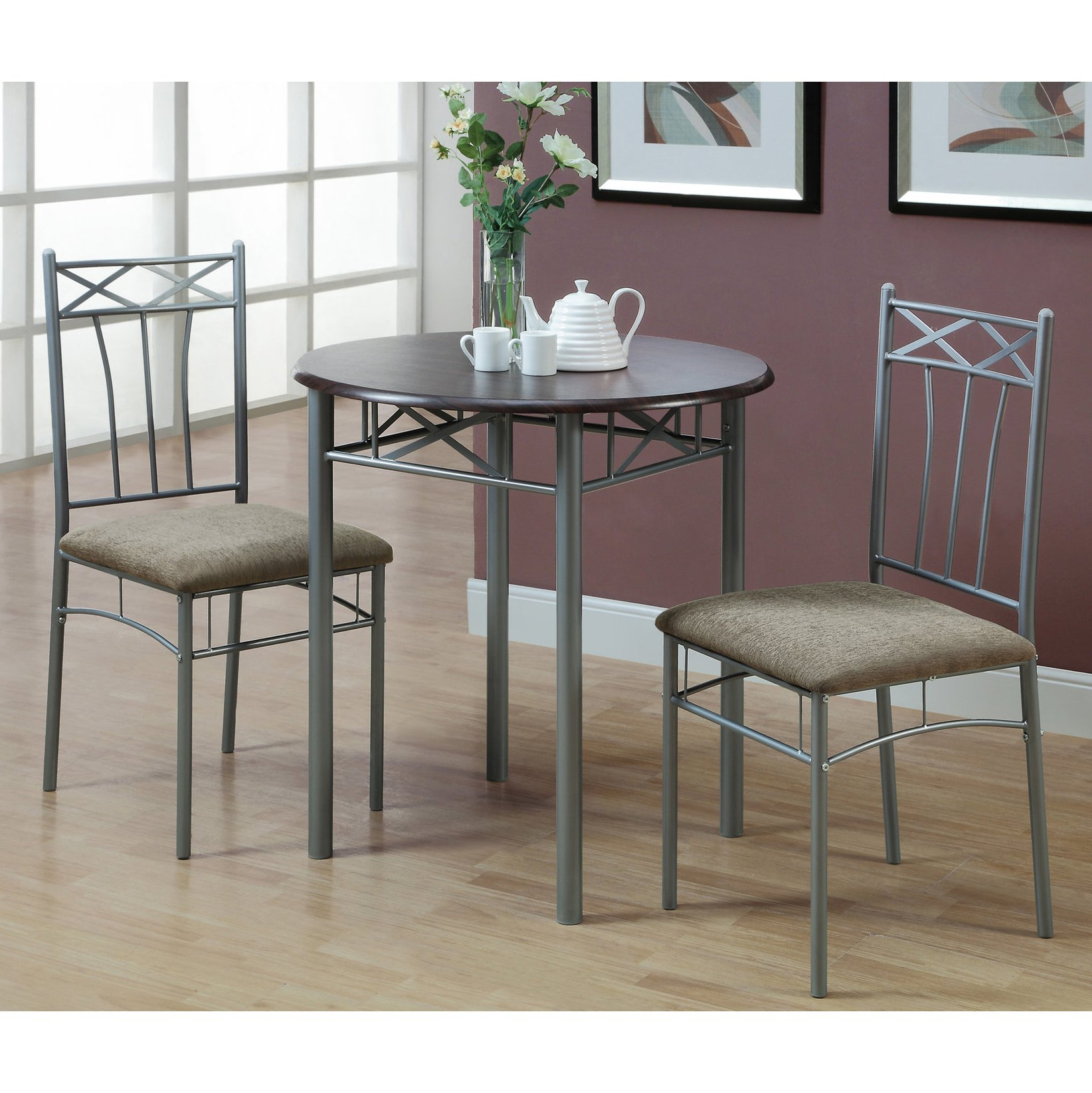 Monarch Specialties Cappuccino Finish Wood and Silver Metal Bistro Dining Set, 3-Piece by Monarch Specialties
