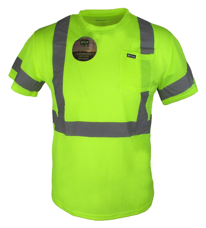 Buffalo Outdoors Mens Hi Vis Reflective Safety Pocket T Shirt High