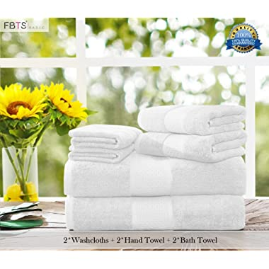 Luxury Bath Towels Sets large 6 Pack Hotel Cotton Towel Set Soft Thick for Bath and Spa White