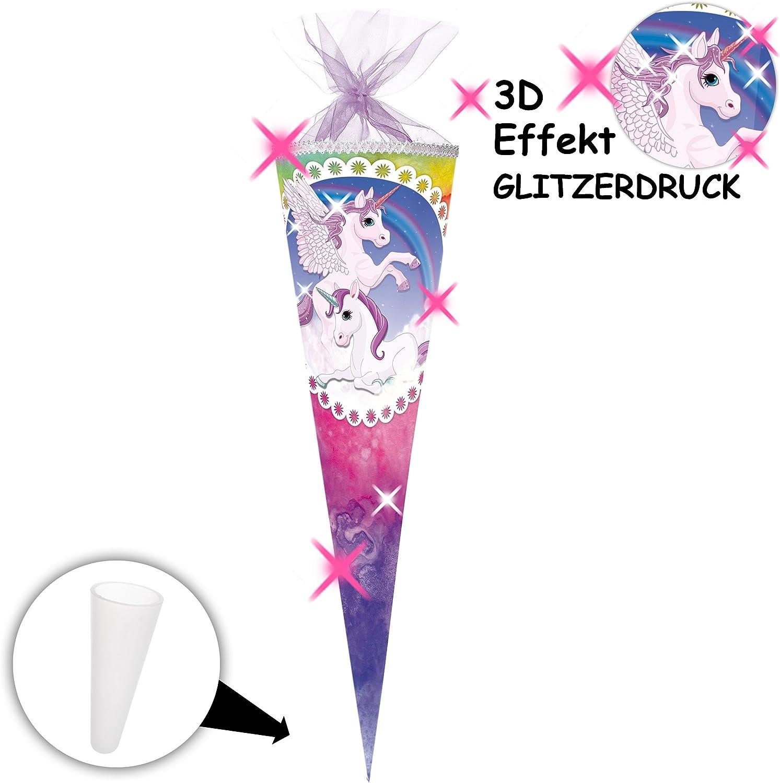 alles-meine.de GmbH personalisierte 3D B/änder passend f/ür mit /_ 3-D Effekt Zucker.. Einhorn /& Pferd Pegasus Regenbogen rund // eckig Glitzer /_ Schult/üte 70 // 85 cm Schleife