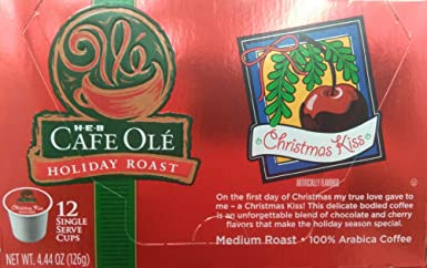 HEB Cafe Ole Holiday Roast Single Serve Coffee Cups 12 Per Box - Medium Roast (Pack of 4 Boxes - 48 Cups) Select Flavor Below (Pan Dulce - Sweet ...