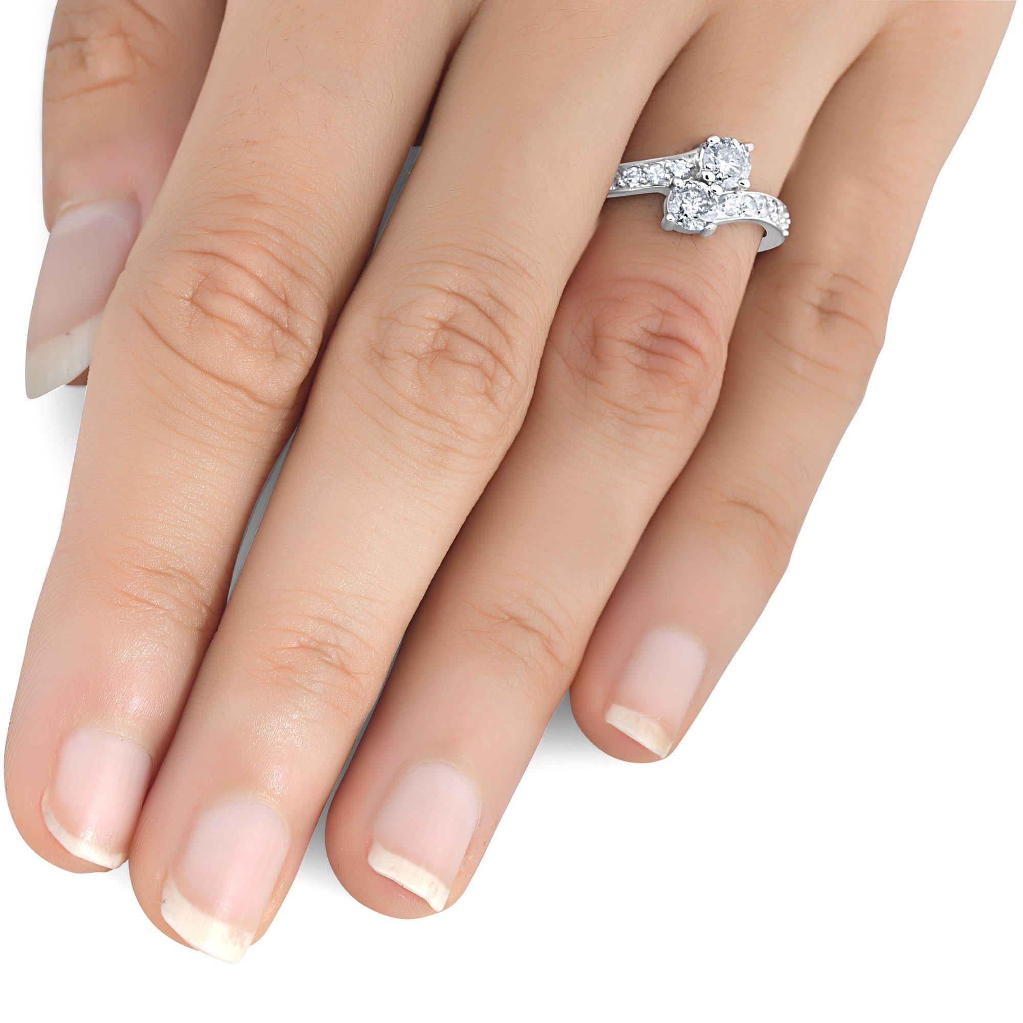 1 Carat Forever Us Diamond Two Stone Engagement Ring 10K White Gold by Pompeii3 Inc. (Image #3)