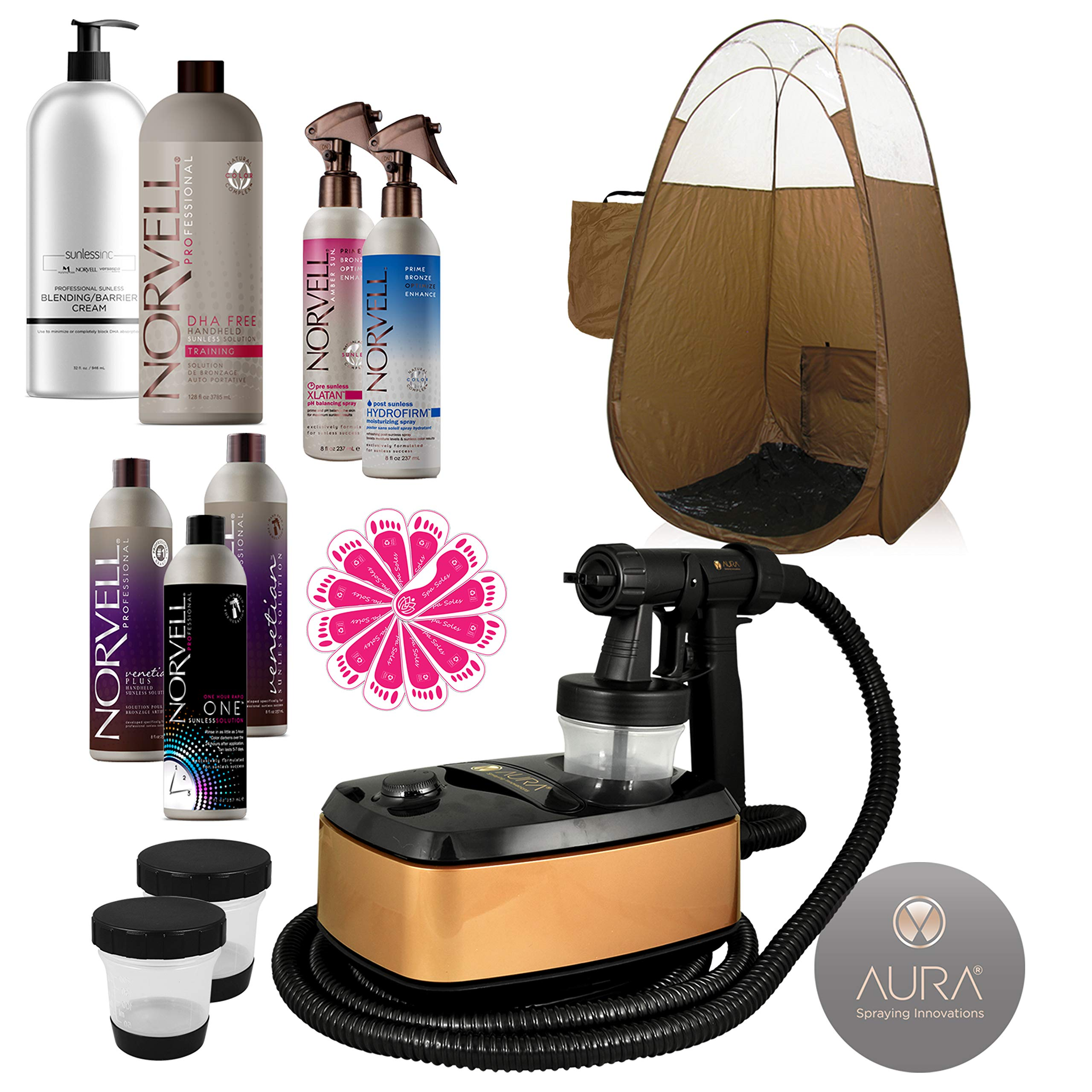 Aura Allure Spray Tanning Machine System with Norvell Airbrush Tan Solution Sunless Pro Kit Bundle and Bronze Pop Up Tent