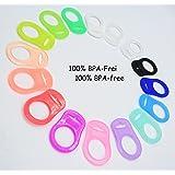 Silikonring (Adapter) für Schnuller - Schnullerhalter für Baby Schnullerketten aus weichem Silikon - 100% BPA Frei (Durchsichtig)