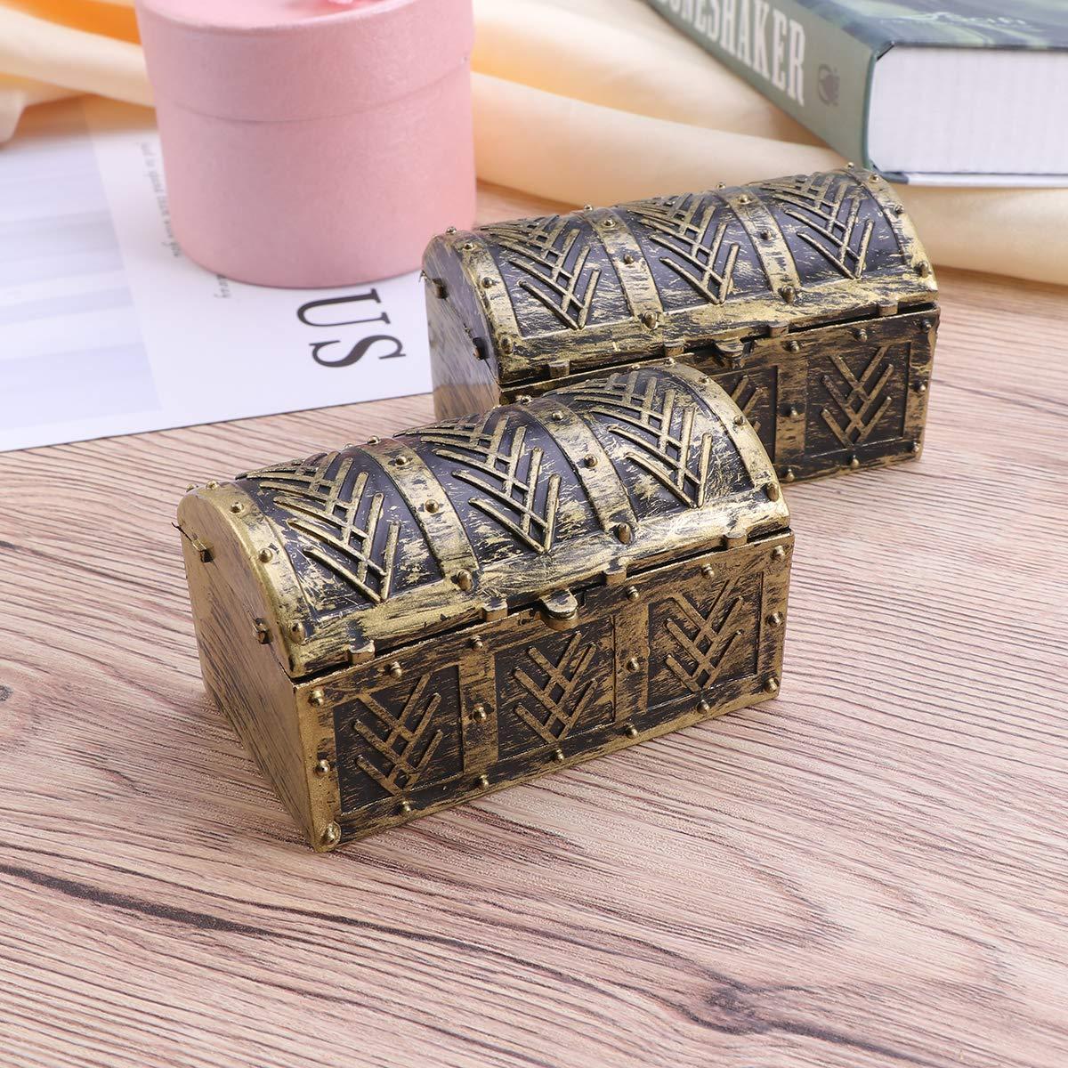 STOBOK Caja Cofre del Tesoro Pirata Caja de joyer/ía de la Vendimia Caja de Recuerdo Fiesta de Disfraces Vestido de Disfraces para ni/ños Ni/ños 10 pcs
