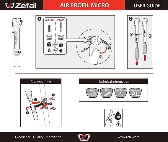 ZEFAL Air Profil Micro Inflador de Mano, Unisex, Gris, Talla Única ...