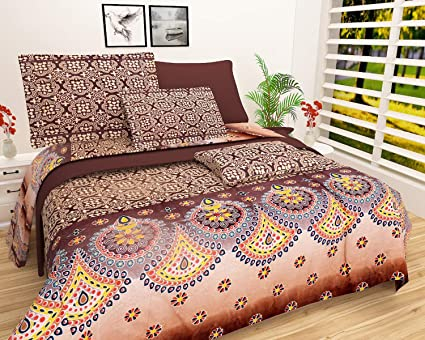 1db722f686 Buy FINCH Bedsheets 100% Cotton Double Bedsheet with 2 Pillow Covers -  Queen Size - 3D Printed Pattern Online at Low Prices in India - Amazon.in