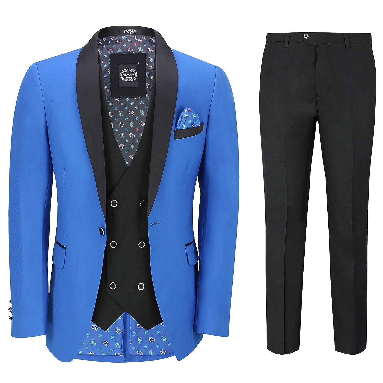 d714613a13dc Xposed Mens 3 Piece Suit Tuxedo Dinner Jacket Wedding Party Royal Blue  Blazer Waistcoat Trouser at Amazon Men's Clothing store: