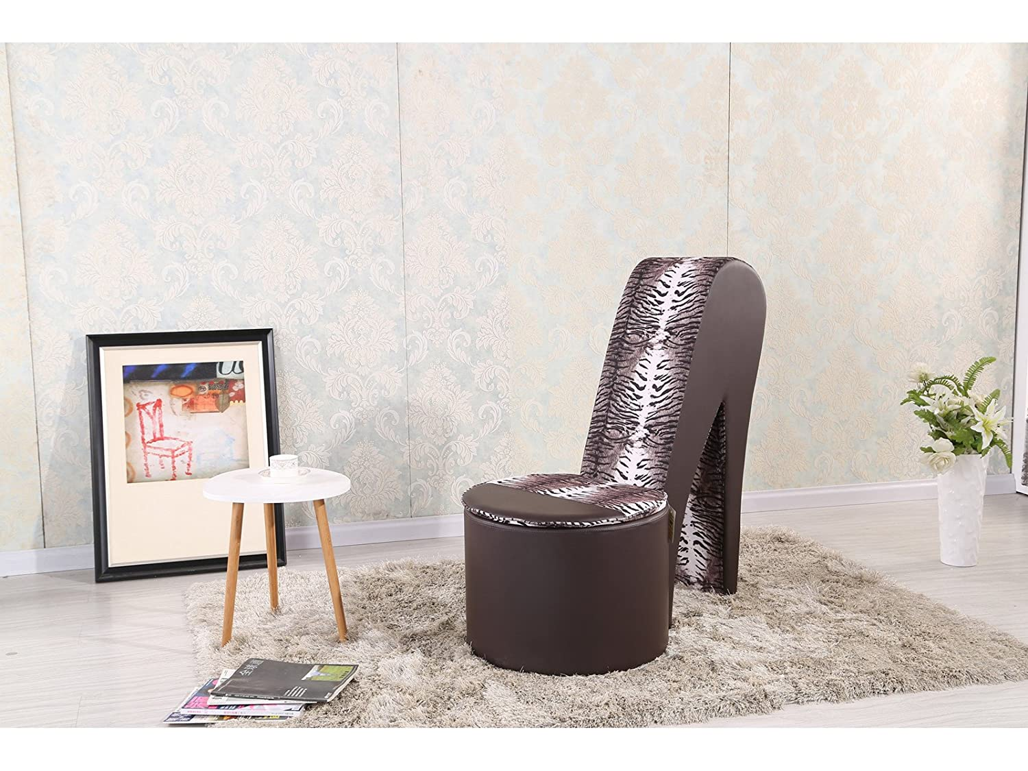 High heel chair for kids - Stiletto Shoe Chair With Storage Faux Leather Girls High Heel Bedroom Seat Brown Amazon Co Uk Kitchen Home