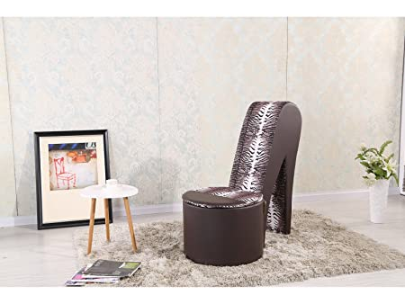 Fabulous STILETTO SHOE CHAIR WITH STORAGE - FAUX LEATHER - GIRLS HIGH HEEL  SF22
