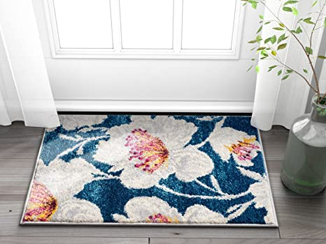 Well Woven Adela Floral Blue Grey Modern Area Rug 20x31 20 X 31 Mat Soft Plush Brush Stroke Carpet Home Kitchen