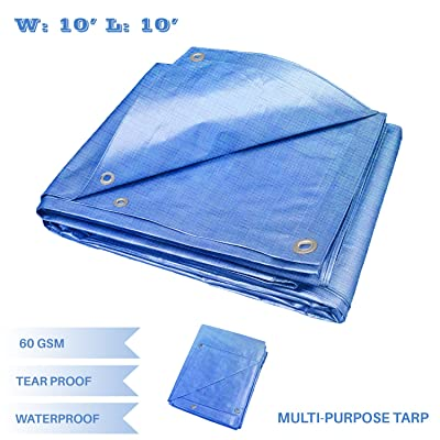 E&K Sunrise 10' x 10' Finished Size General Multi-Purpose Tarpaulin 5-mil Poly Tarp - Blue : Garden & Outdoor
