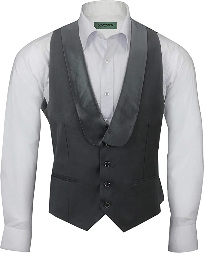 Edwardian Titanic Men's Formal Tuxedo Guide Xposed Men's Vintage Black Satin Shawl Lapel Waistcoat Tailored Fit Smart Wedding Dress Tux Vest £27.99 AT vintagedancer.com