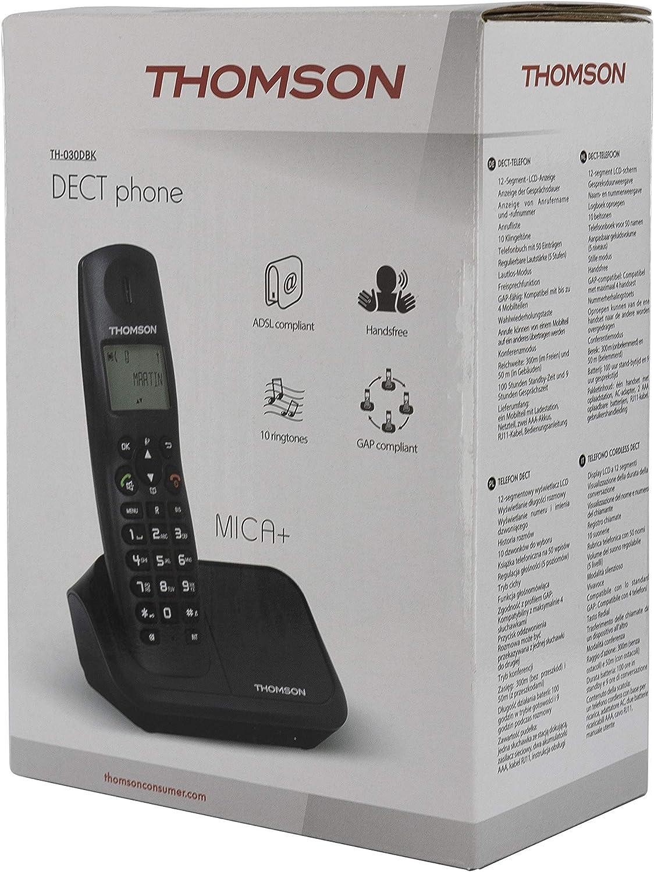 Thomson Mica Plus - Teléfono inalámbrico, Color Negro: Amazon.es: Electrónica