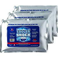 Cooler Shock 3X Lg. Zero°F Cooler Freeze Packs 10x14 inch - No More Ice Replaces Ice and is Reusable - Easy Fill - Add…
