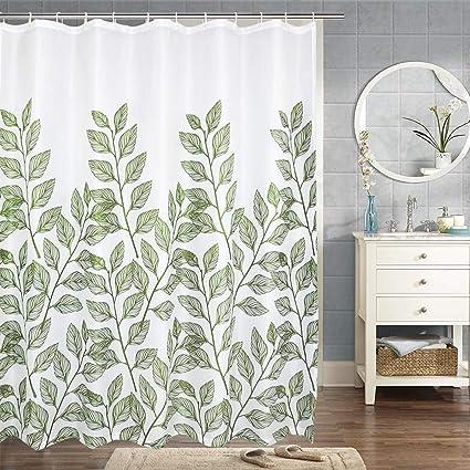 Green Leaves Shower Curtain Bathroom Waterproof Durable Oxford Fabric Bath