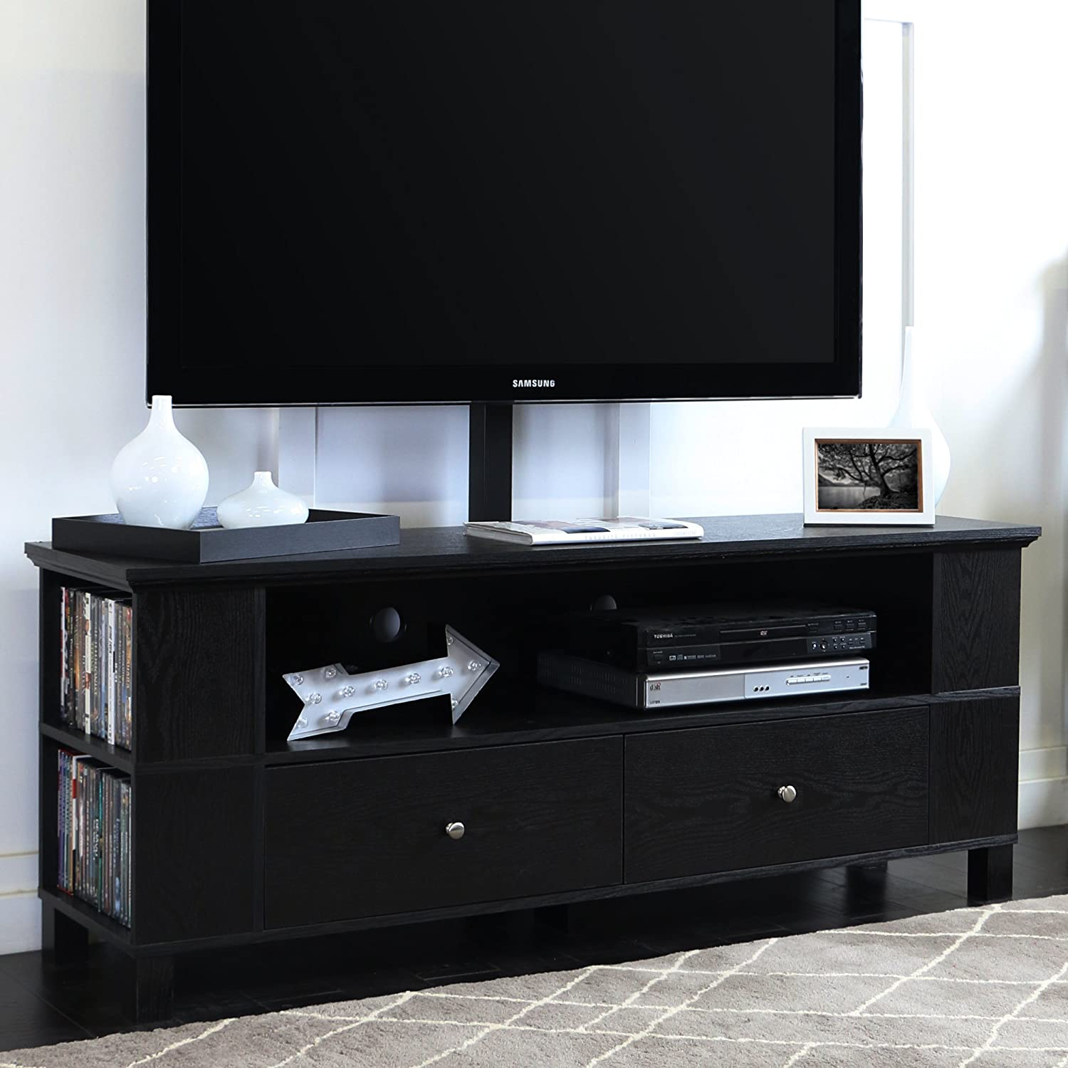 Amazon Com Walker Edison 58 Black Wood Storage Modern Tv Stand Console Cabinet With Mount For Flat Screen Tv S Up To 65 Entertainment Center Furniture Decor