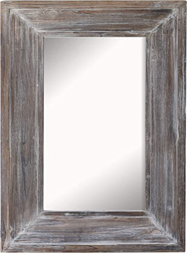 Barnyard Designs Decorative Distressed Wood Frame Wall Mirror, Large Rustic Farmhouse Mirror Decor, Vertical or Horizontal Hanging, for Bathroom Vanity, Living Room or Bedroom, 36 x 24