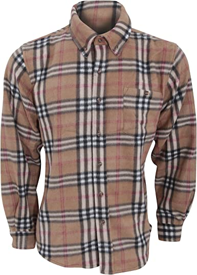 ProClimate - Top / Camisa de felpa con botones Modelo Plaid hombre caballero (Mediana (M)/Beige): Amazon.es: Ropa y accesorios
