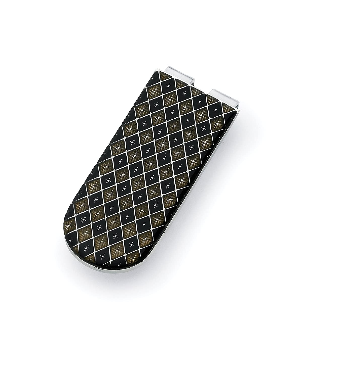 Mens Stainless Steel Money Holder Clip with Black//Gray Diamond Pattern Accent