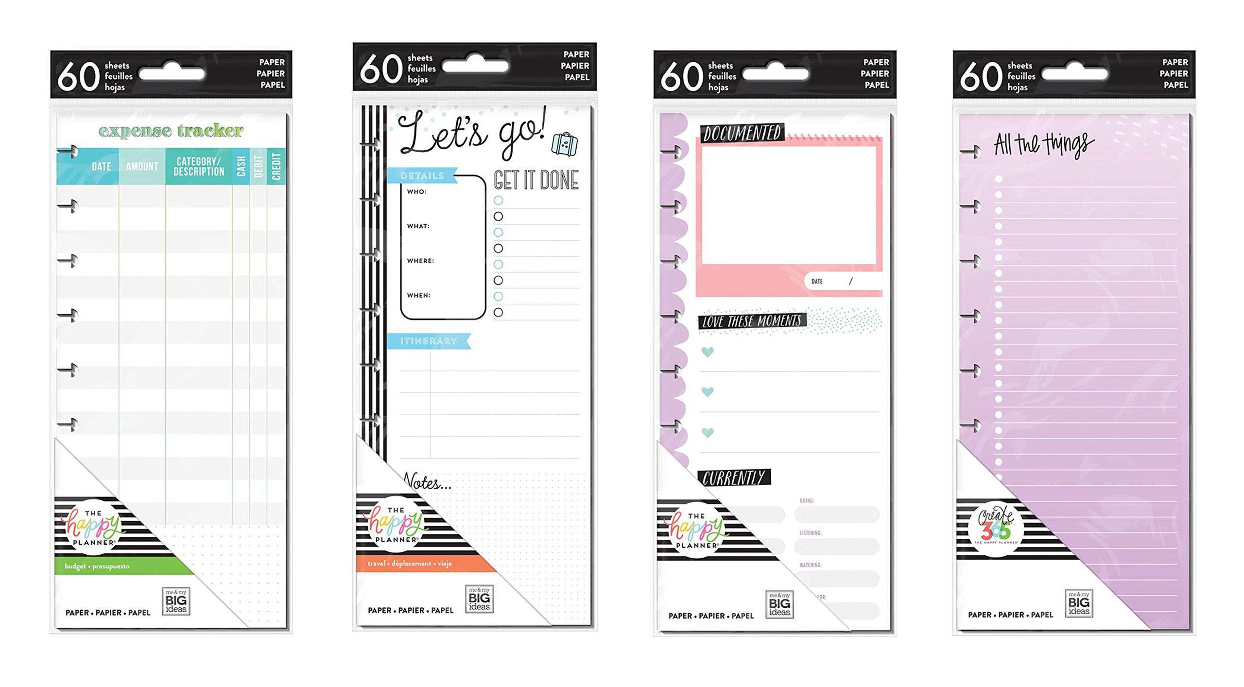 Happy Planner Classic Planner Half Sheets - Expense Tracker, Currently, Travel and Colored Paper - 4 Item MAMBI Bundle