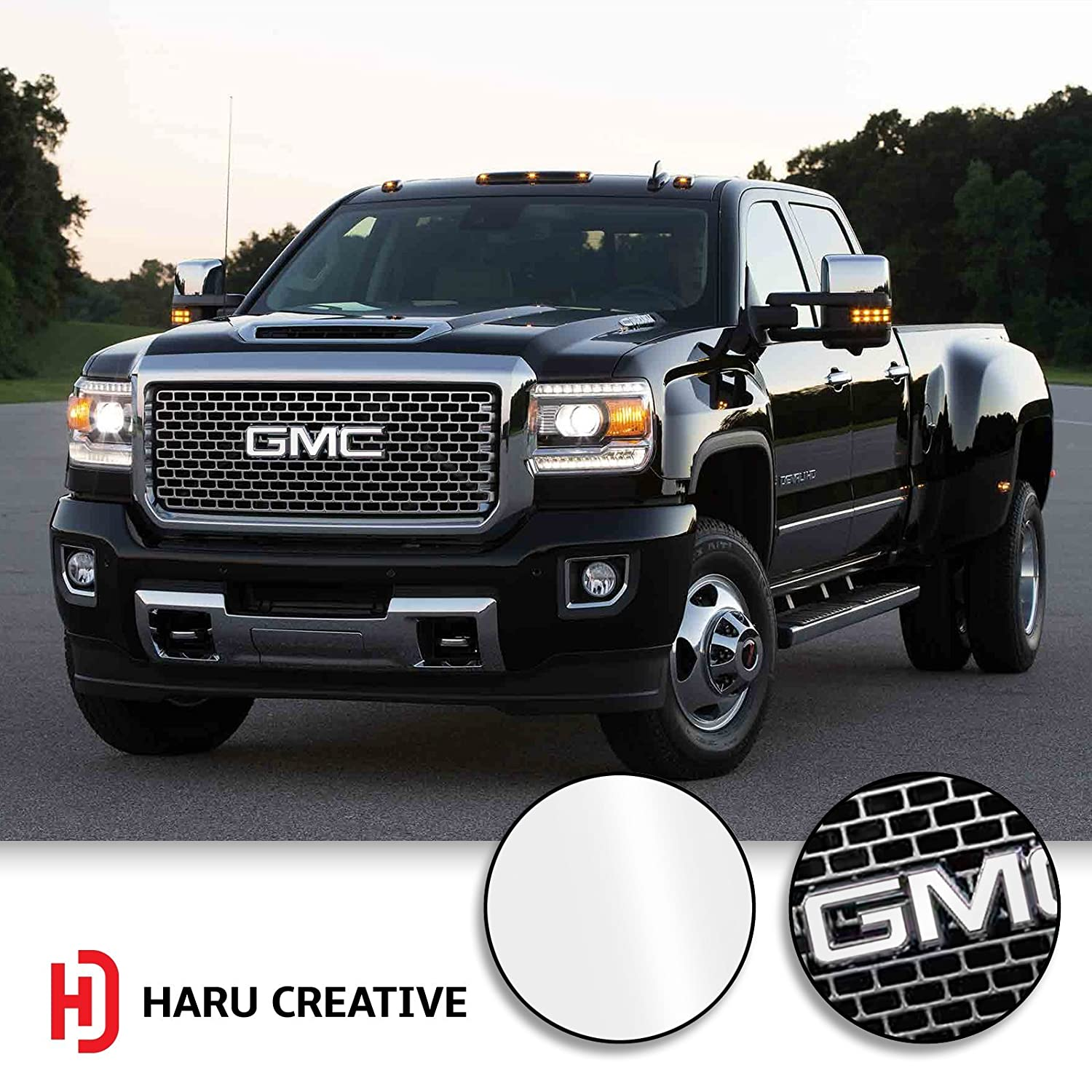 Haru Creative Gloss White Loyo Grille Hood Trunk Tailgate Emblem Letter Overlay Vinyl Decal Sticker Compatible Fits GMC
