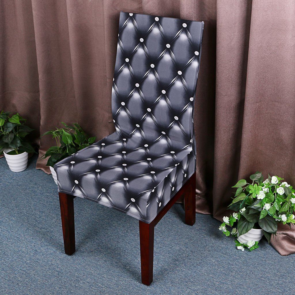 SUMNACON 6 x Housses de Chaise Extensible D/écoration de la Maison Bureau Gris,Rayures Anti de Poussi/ère