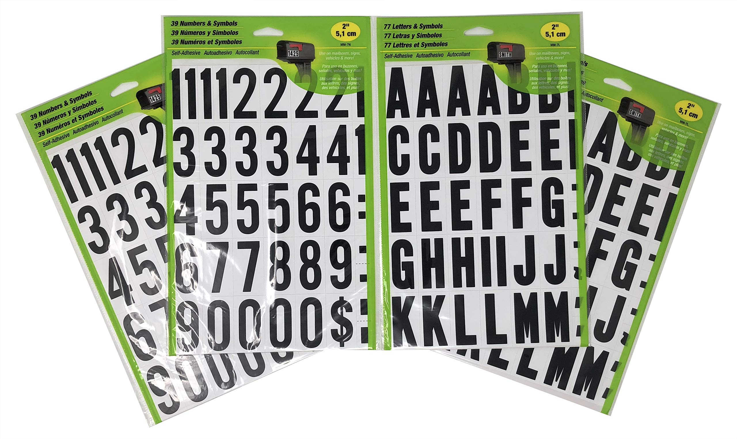 HY-KO Self-Adhesive 2'' Black and White Vinyl Numbers (2-Pack) and Letters (2-Pack) Bundle