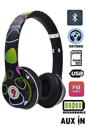 ELECITI Cascos Auriculares Bluetooth con Micrófono (Modelo Neon)