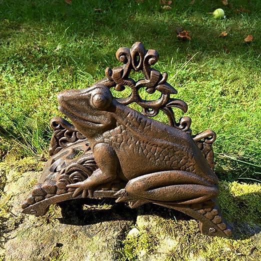 Antikas - portamanguera pared para el jardín - portamanguera decorativa con rana - soporte para manguera hierro fundido: Amazon.es: Jardín