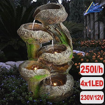Jardín Brunnen Brunnen Tocón & Piedra rígida con LED de luz 230 V Deko-Shop-Hannusch – Fuente pájaro baño cascada Jardín Lámpara – Bomba de agua para jardín, jardín, terraza, estanque: Amazon.es: Hogar