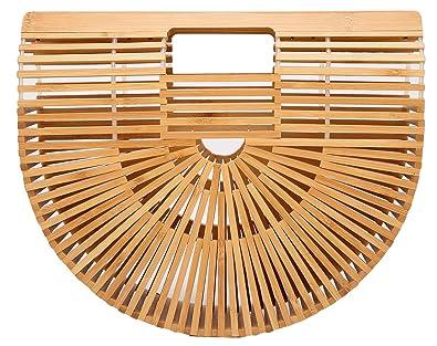 6b3f5dc43 Women's Fashion Handmade Bamboo Handbag Summer Beach Sea Tote Straw Bag  Large