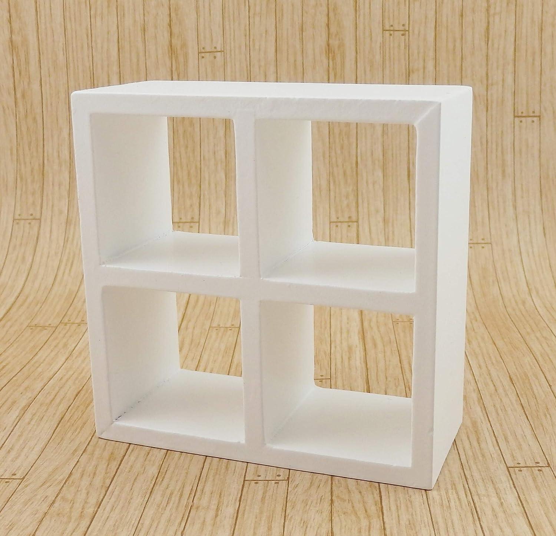 Melody Jane Dollhouse 4 Cube Display Unit White Modern Shelves Bookcase 1:12