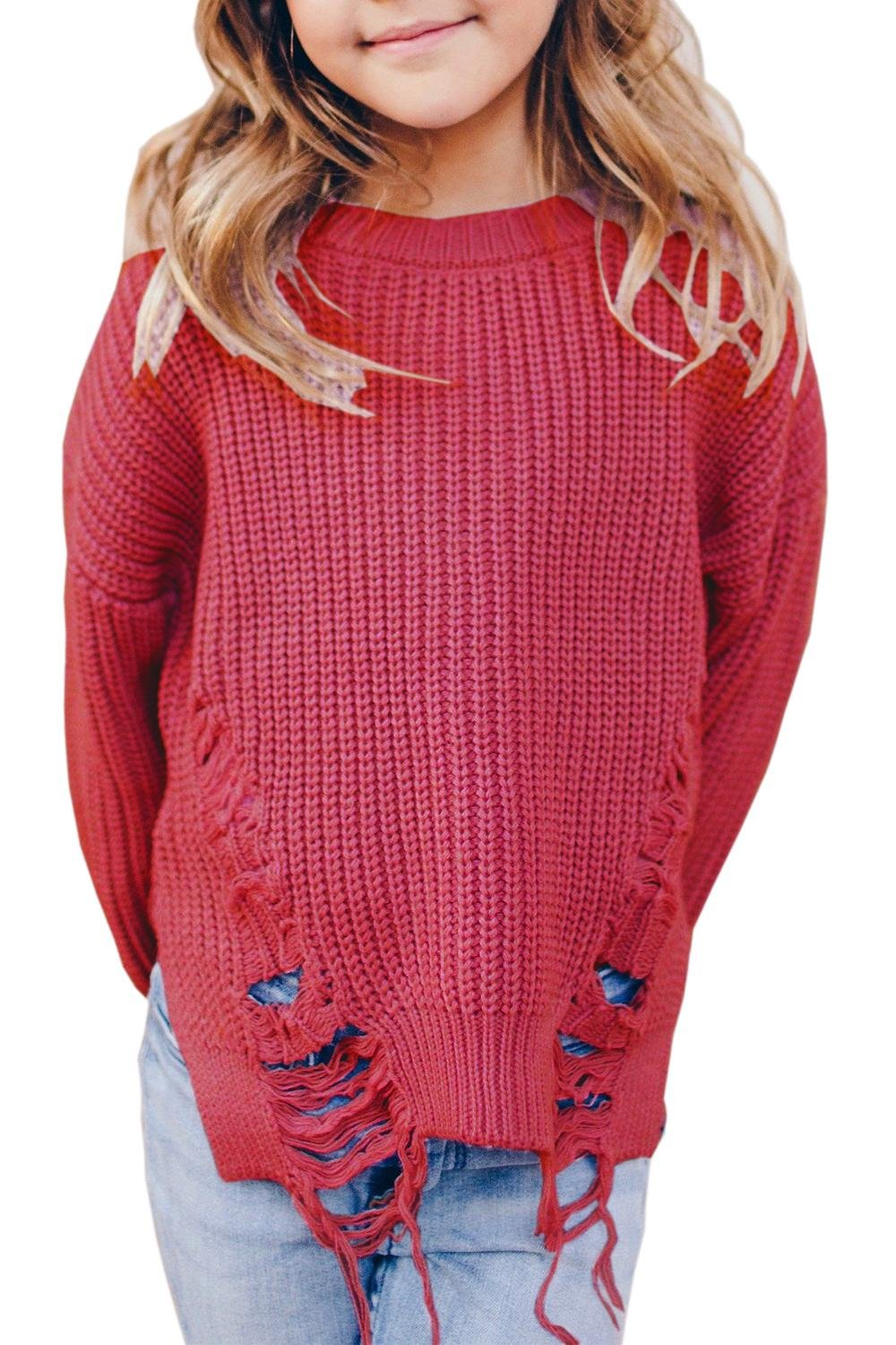 KunLunMen Girls Ripped Long Sleeve Sweaters Knitted Loose Crew Neck Pullover