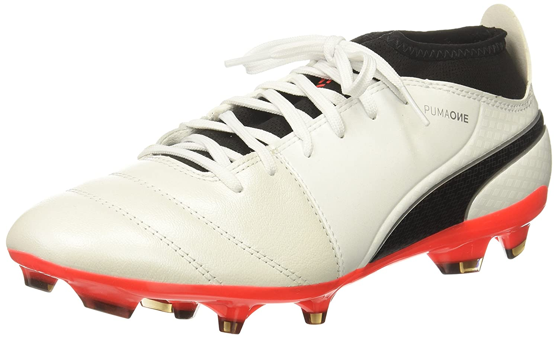 PUMA Men's One 17.3 FG Soccer Schuhe, Weiß schwarz-Fiery Coral, 11 M US