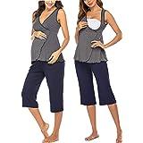 Ekouaer Women's Maternity Pajama Set Nursing Tank Top Breastfeeding Sleepwear Soft Carpi Pants Pj Set
