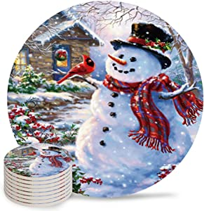 Fangship 4 Piece Ceramic Drink Coasters Absorbent Stone Coaster Set,Merry Christmas Theme Cute Colorful Snowman Table Centerpieces Home Decor with Cork Backing,Suitable for Kinds of Cups and Mugs