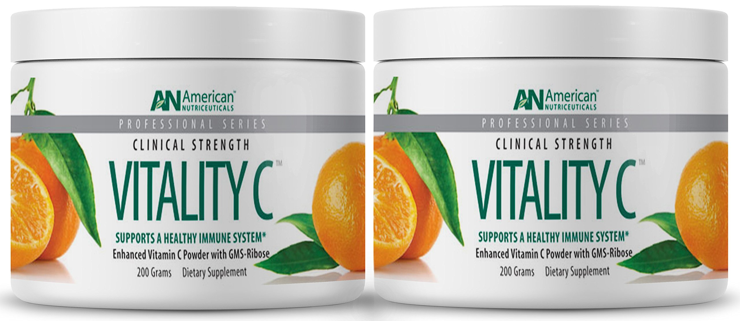 American Nutriceuticals Vitality C - 200 Gram (Pack of 2) | Ultra High-Potency Vitamin C Powder Without Gastric Distress | Enhanced Absorption, Neutral pH with GMS-Ribose Complex