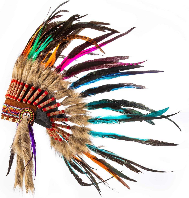 Accessorio per Adulti per Festa con Piume Autentiche Pink Pineapple Copricapo Ispirato ai Nativi Americani Piccolo Arcobaleno