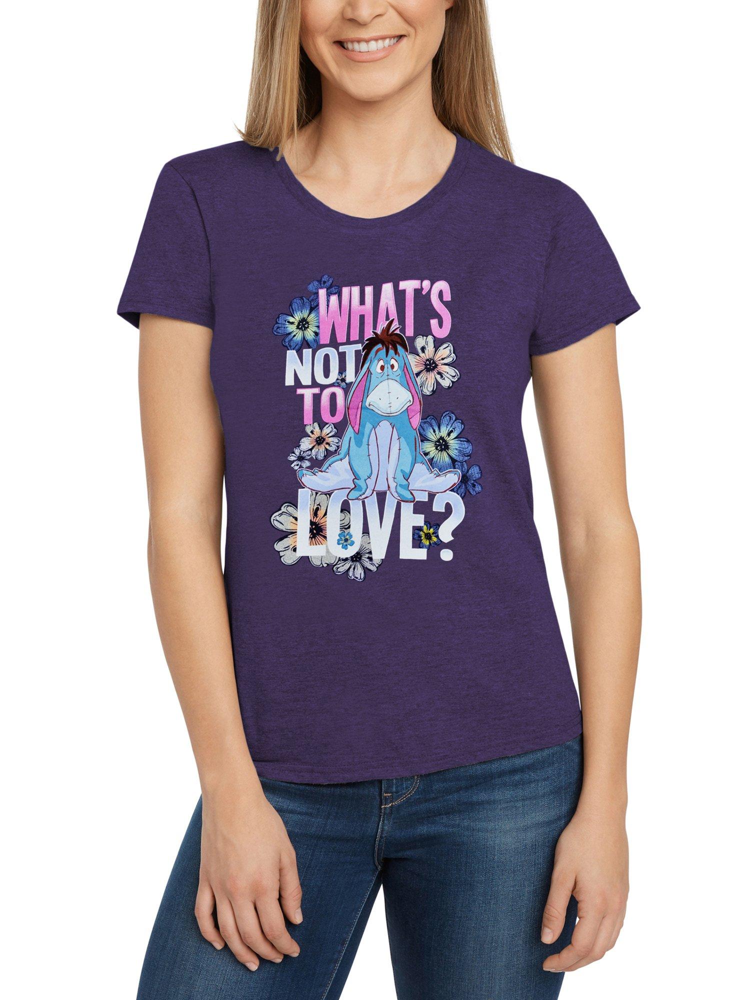 Disney Women's Fitted T-Shirt Eeyore What's Not to Love Print (Purple, Medium)