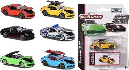 Majorette 212053153 Deluxe Toy Car Porsche 911 Vehicle, Includes Collectable Box, Rubber Tyres, 7.5 cm, 6 Different Models, 1 Piece, Multi-Colour