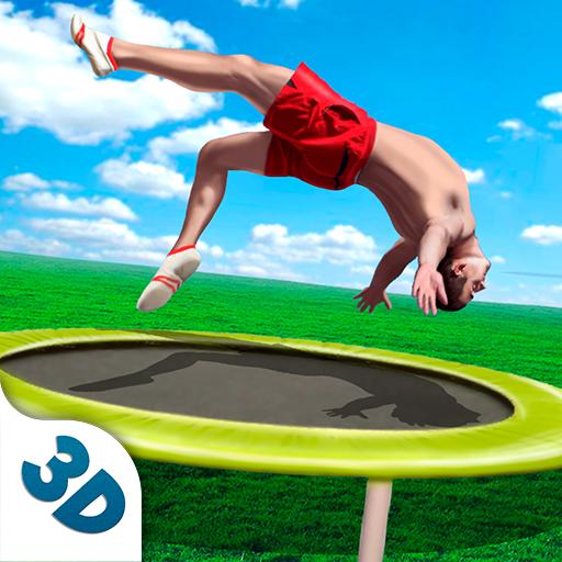 Aerial Sport Challenge Gymnastics Contest: Trampoline Jumper Flip Game