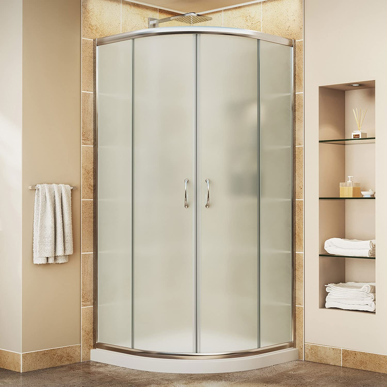 High Quality W Kit, With Corner Sliding Shower Enclosure In Chrome And White Acrylic  Base   Shower Doors   Amazon.com