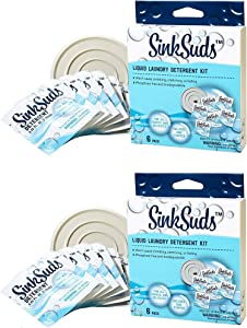 SinkSuds Travel Laundry Detergent Liquid Soap + Odor Eliminator for All Fabrics Including Delicates, (TSA Compliant), 12 Sink Packets (0.25 fl oz Each) + 2-4in Stoppers, White, 2 Pack