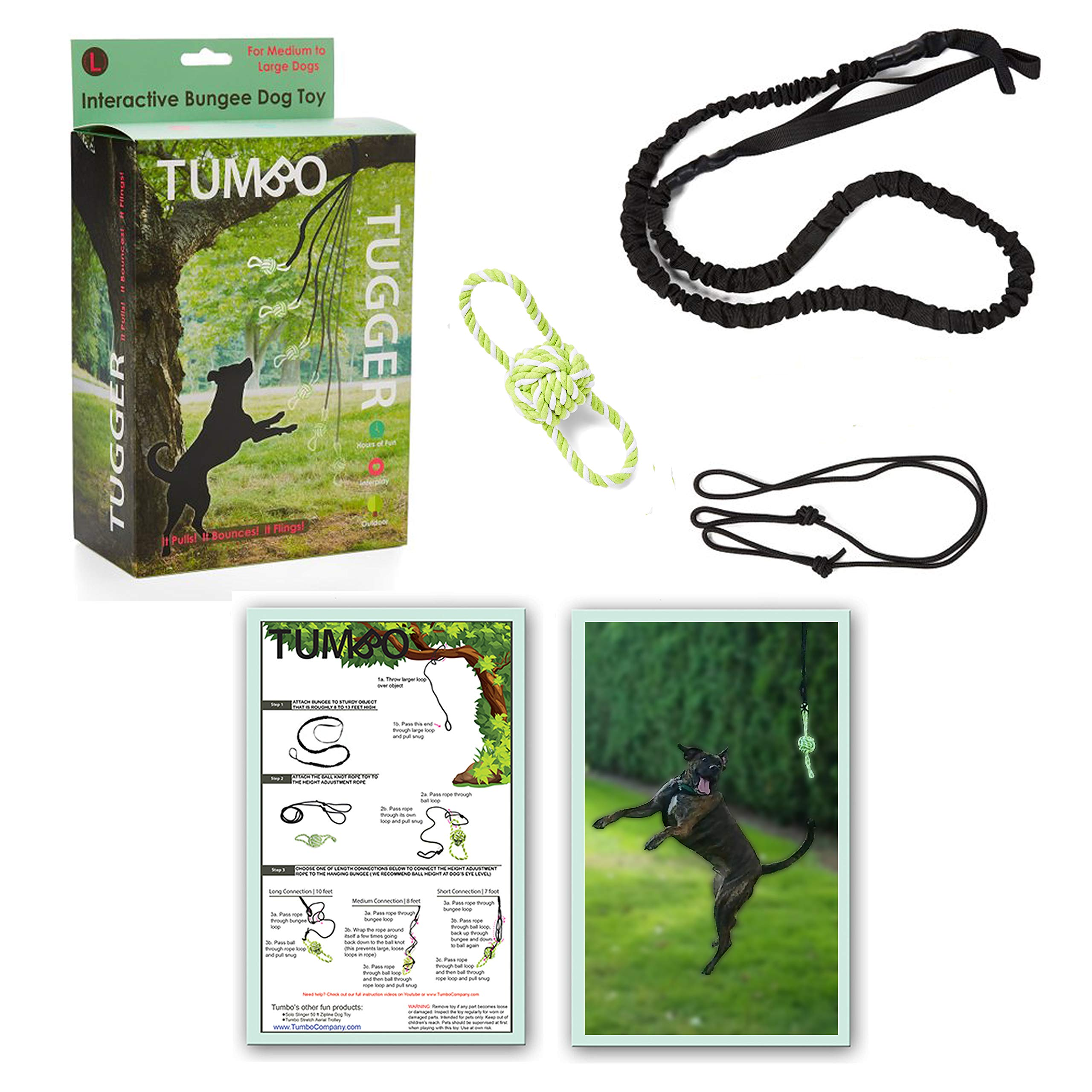 Tumbo Tugger Outdoor Hanging Doggie Bungee Rope Toy, Large by Tumbo
